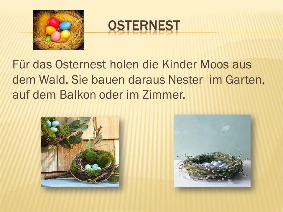 Für das Osternest holen die Kinder Moos aus dem Wald. Sie bauen daraus Nester im Garten, auf dem Balkon oder im Zimmer.