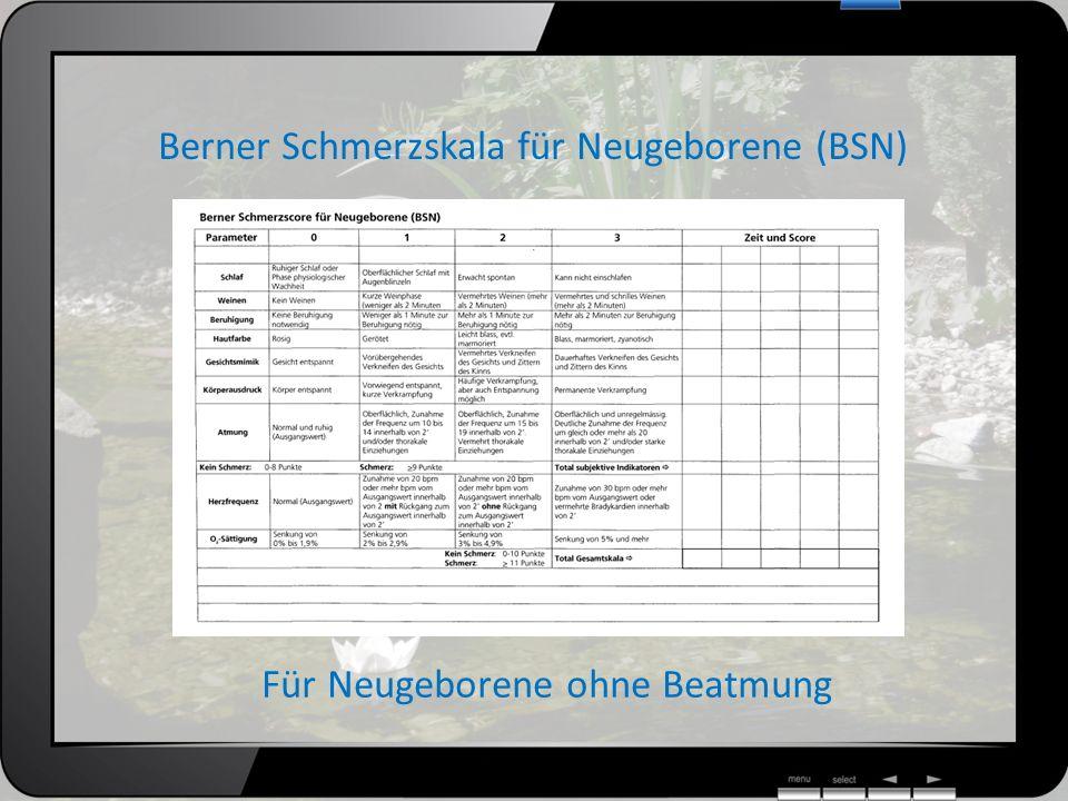 Berner Schmerzskala für Neugeborene (BSN) Für Neugeborene ohne Beatmung