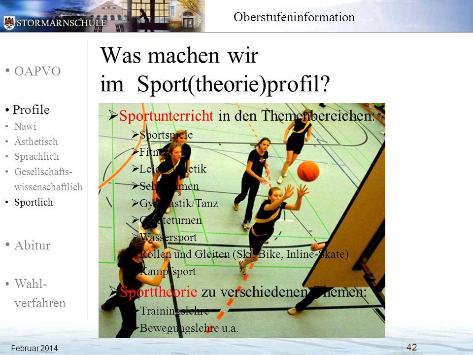 OAPVO Profile Nawi Ästhetisch Sprachlich Gesellschafts- wissenschaftlich Sportlich Abitur Wahl- verfahren Oberstufeninformation Was machen wir im Spor