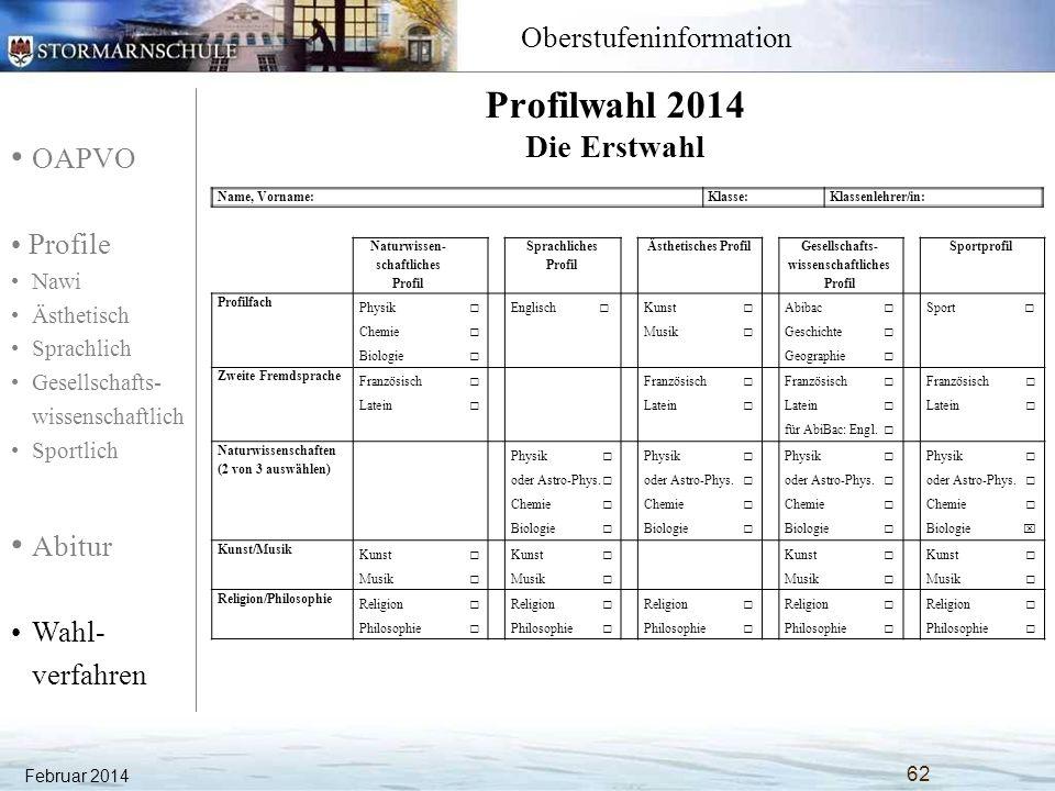 OAPVO Profile Nawi Ästhetisch Sprachlich Gesellschafts- wissenschaftlich Sportlich Abitur Wahl- verfahren Oberstufeninformation Februar 2014 62 Name,