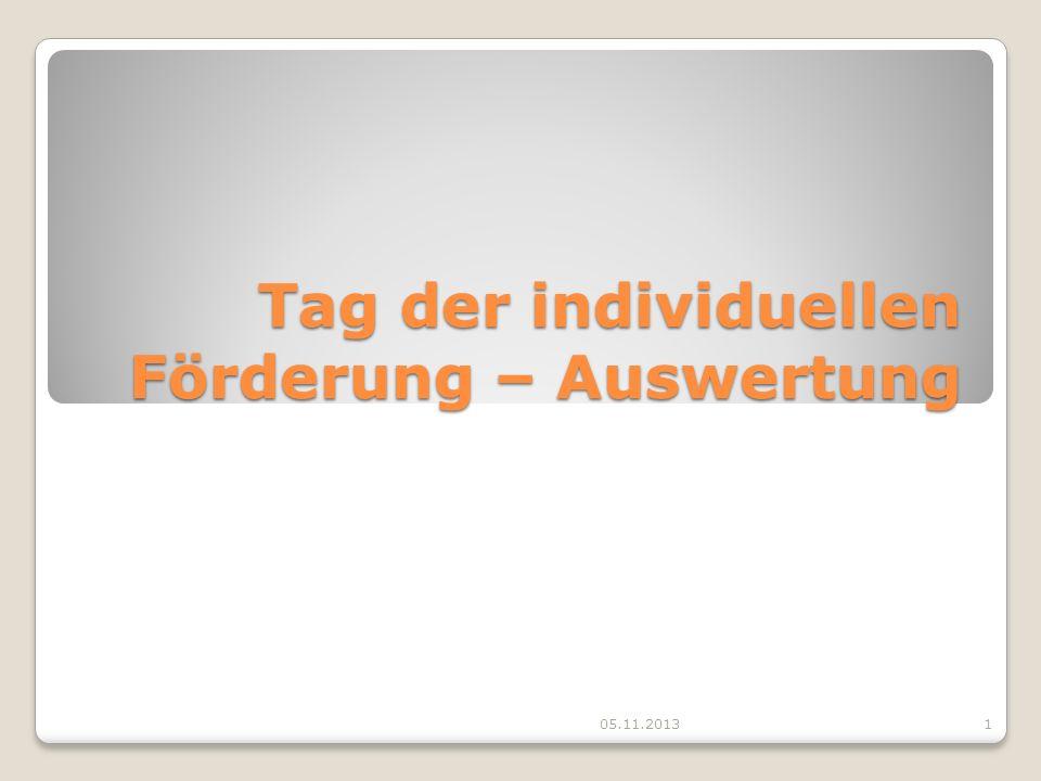 Tag der individuellen Förderung – Auswertung 05.11.20131