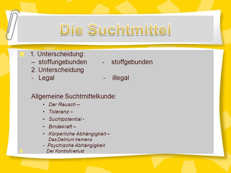1.Unterscheidung: –stoffungebunden - stoffgebunden 2.