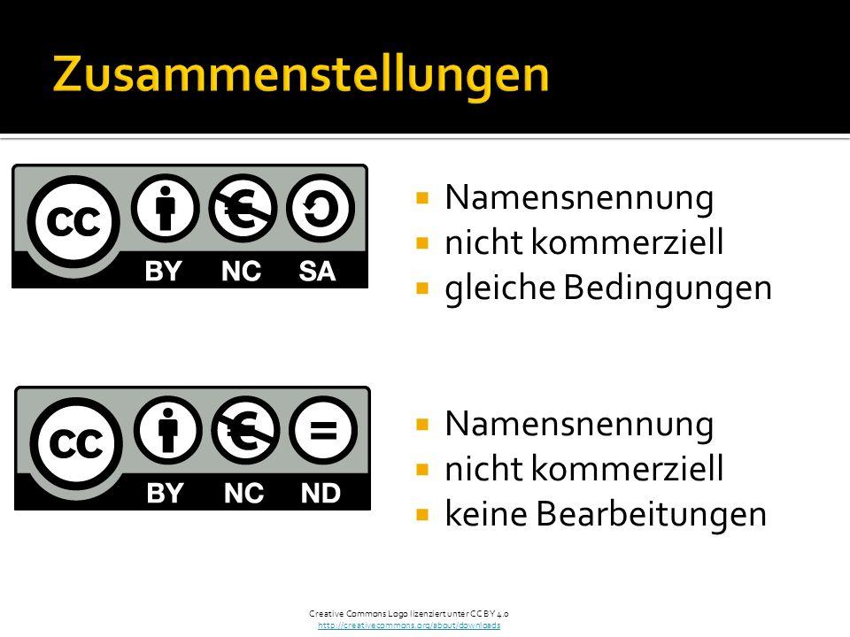 Namensnennung nicht kommerziell gleiche Bedingungen Namensnennung nicht kommerziell keine Bearbeitungen Creative Commons Logo lizenziert unter CC BY 4.0 http://creativecommons.org/about/downloads