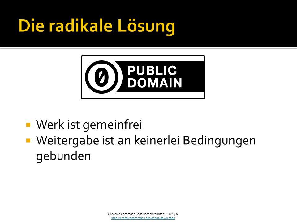 Werk ist gemeinfrei Weitergabe ist an keinerlei Bedingungen gebunden Creative Commons Logo lizenziert unter CC BY 4.0 http://creativecommons.org/about/downloads