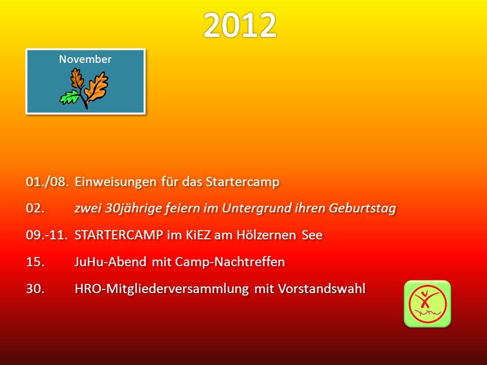 01./08.Einweisungen für das Startercamp 02.zwei 30jährige feiern im Untergrund ihren Geburtstag 09.-11.STARTERCAMP im KiEZ am Hölzernen See 15.JuHu-Ab