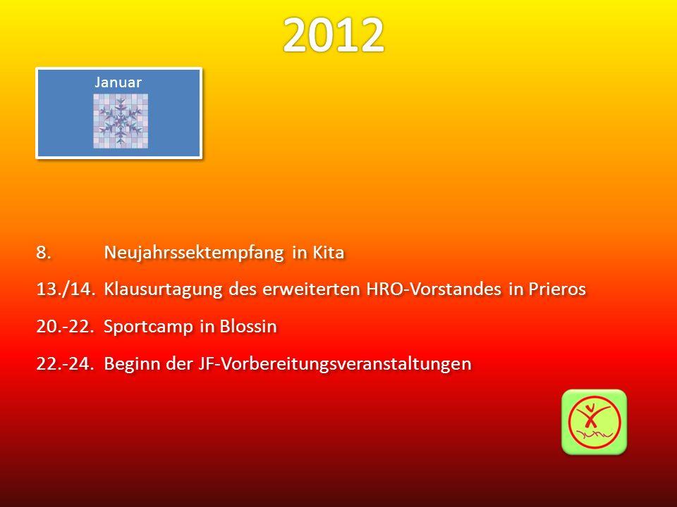 Januar 8.Neujahrssektempfang in Kita 13./14.Klausurtagung des erweiterten HRO-Vorstandes in Prieros 20.-22.Sportcamp in Blossin 22.-24.Beginn der JF-V