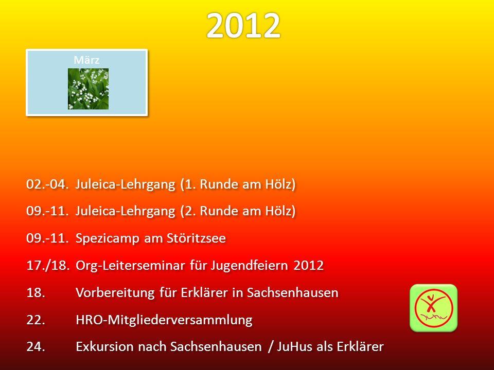 02.-04.Juleica-Lehrgang (1. Runde am Hölz) 09.-11.Juleica-Lehrgang (2. Runde am Hölz) 09.-11.Spezicamp am Störitzsee 17./18.Org-Leiterseminar für Juge