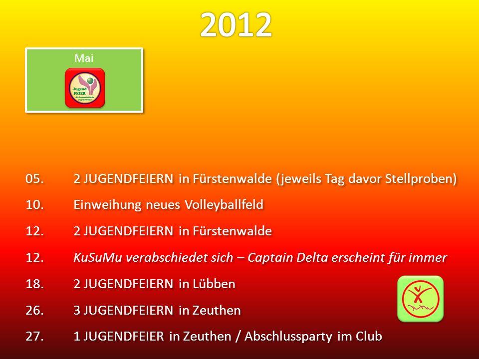 05.2 JUGENDFEIERN in Fürstenwalde (jeweils Tag davor Stellproben) 10.Einweihung neues Volleyballfeld 12.2 JUGENDFEIERN in Fürstenwalde 12.KuSuMu verabschiedet sich – Captain Delta erscheint für immer 18.2 JUGENDFEIERN in Lübben 26.3 JUGENDFEIERN in Zeuthen 27.1 JUGENDFEIER in Zeuthen / Abschlussparty im Club 05.2 JUGENDFEIERN in Fürstenwalde (jeweils Tag davor Stellproben) 10.Einweihung neues Volleyballfeld 12.2 JUGENDFEIERN in Fürstenwalde 12.KuSuMu verabschiedet sich – Captain Delta erscheint für immer 18.2 JUGENDFEIERN in Lübben 26.3 JUGENDFEIERN in Zeuthen 27.1 JUGENDFEIER in Zeuthen / Abschlussparty im Club Mai