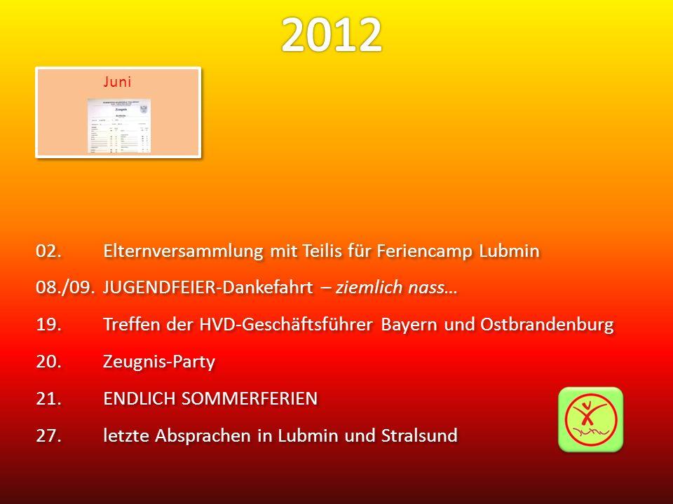 02.Elternversammlung mit Teilis für Feriencamp Lubmin 08./09.JUGENDFEIER-Dankefahrt – ziemlich nass… 19.Treffen der HVD-Geschäftsführer Bayern und Ost
