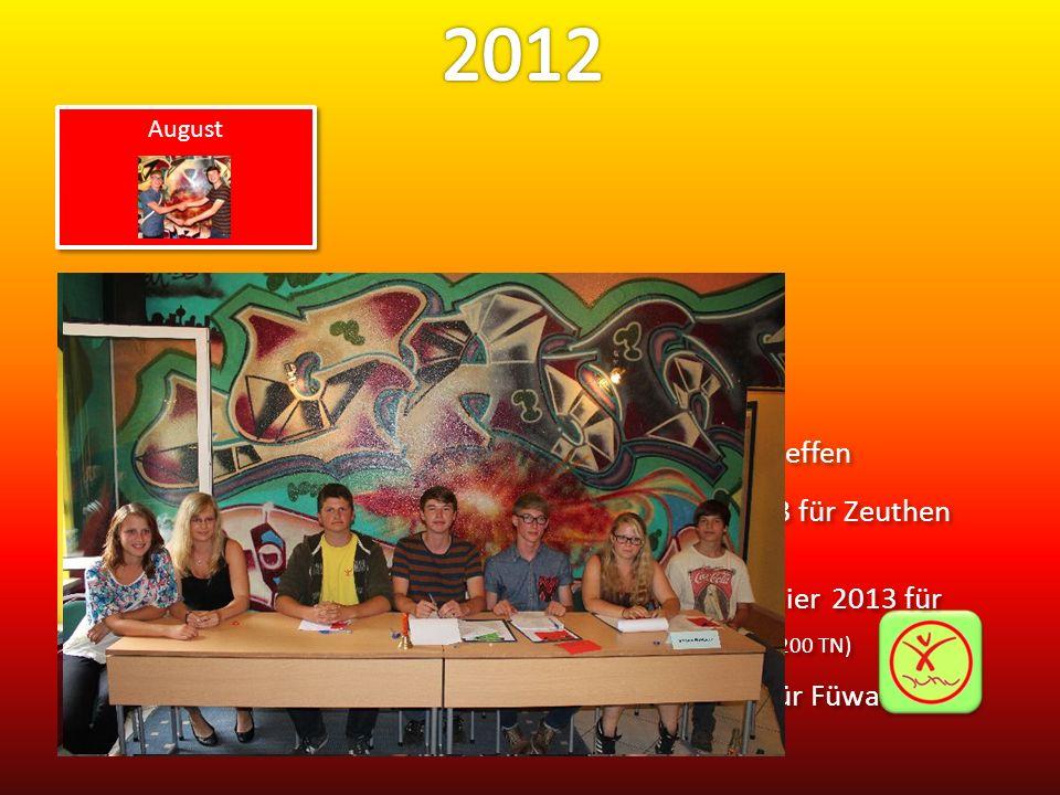 05.Wahl des neuen Sprecherrates 09.JuHu-Abend mit SOMMERFERIEN-CAMP-Nachtreffen 14./15.Einstimmungsveranstaltungen Jugendfeier 2013 für Zeuthen mit Teilis und Eltern (jeweils 200 Teilnehmer) 20./21./22.