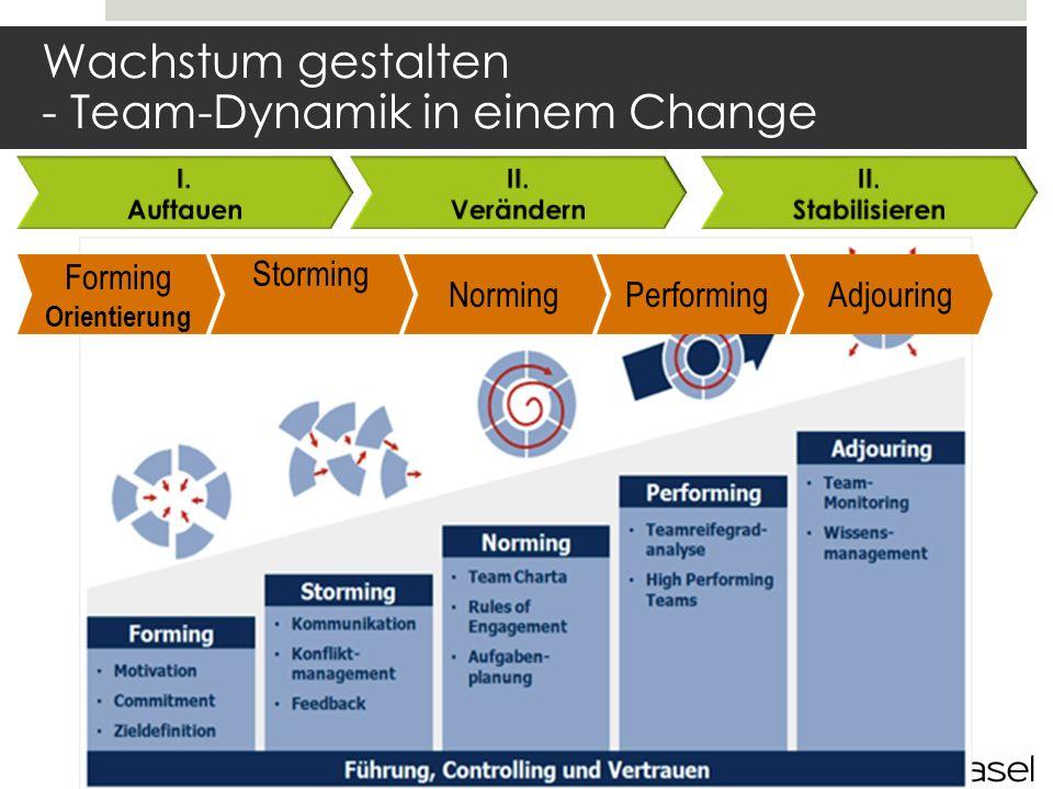 Wachstum gestalten - Team-Dynamik in einem Change Forming Orientierung Storming NormingPerformingAdjouring