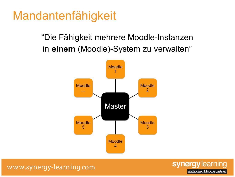 Die Fähigkeit mehrere Moodle-Instanzen in einem (Moodle)-System zu verwalten Mandantenfähigkeit Master Moodle 1 Moodle 2 Moodle 3 Moodle 4 Moodle 5 Mo