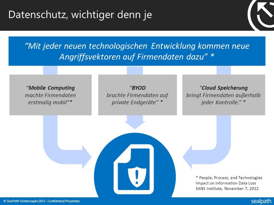© SealPath Technologies 2013 - Confidential Propietary Datenschutz, wichtiger denn je Mit jeder neuen technologischen Entwicklung kommen neue Angriffs