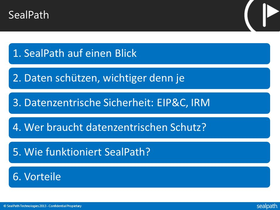 © SealPath Technologies 2013 - Confidential Propietary SealPath: Basiert auf Microsoft AD-RMS / MSIPC: Microsoft Informationsschutz & Kontrolle Persistent Protection + Encryption Policy: Access Permissions Use Right Permissions Ausgereifte und erprobte Informationsschutz-Technologie Basiert auf Public Key und symmetrischer Kryptographie, verwendet Identitäts- verwaltung um sensible Informationen zu schützen.