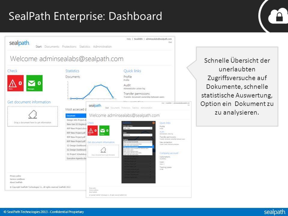 © SealPath Technologies 2013 - Confidential Propietary SealPath Enterprise: Dashboard Schnelle Übersicht der unerlaubten Zugriffsversuche auf Dokument
