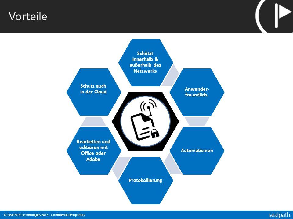 © SealPath Technologies 2013 - Confidential Propietary Vorteile Schützt innerhalb & außerhalb des Netzwerks Anwender- freundlich. AutomatismenProtokol