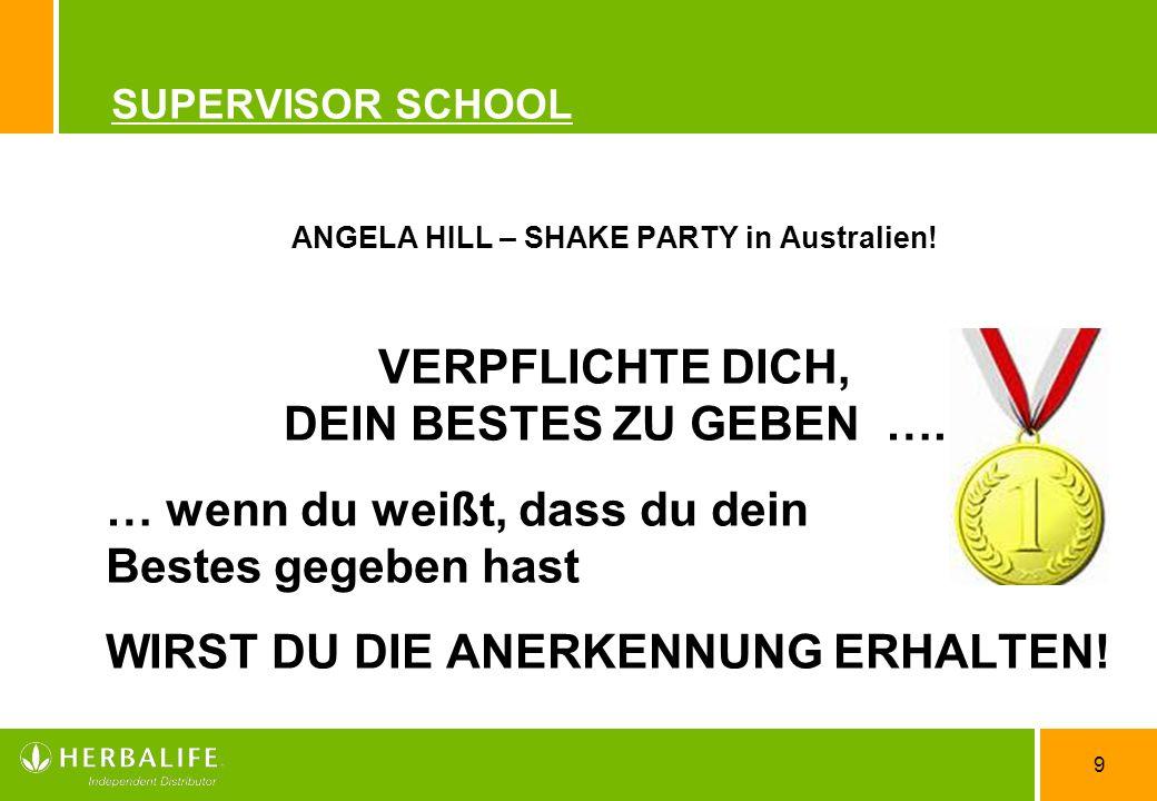 9 SUPERVISOR SCHOOL ANGELA HILL – SHAKE PARTY in Australien.