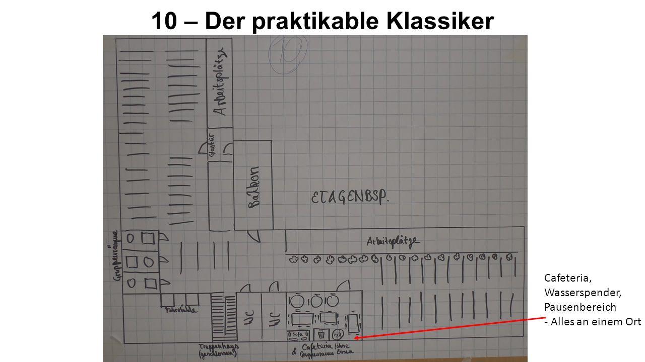 10 – Der praktikable Klassiker Cafeteria, Wasserspender, Pausenbereich - Alles an einem Ort