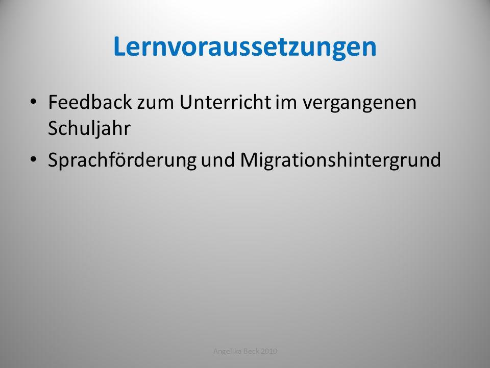 Lernvoraussetzungen Feedback zum Unterricht im vergangenen Schuljahr Sprachförderung und Migrationshintergrund Angelika Beck 201013