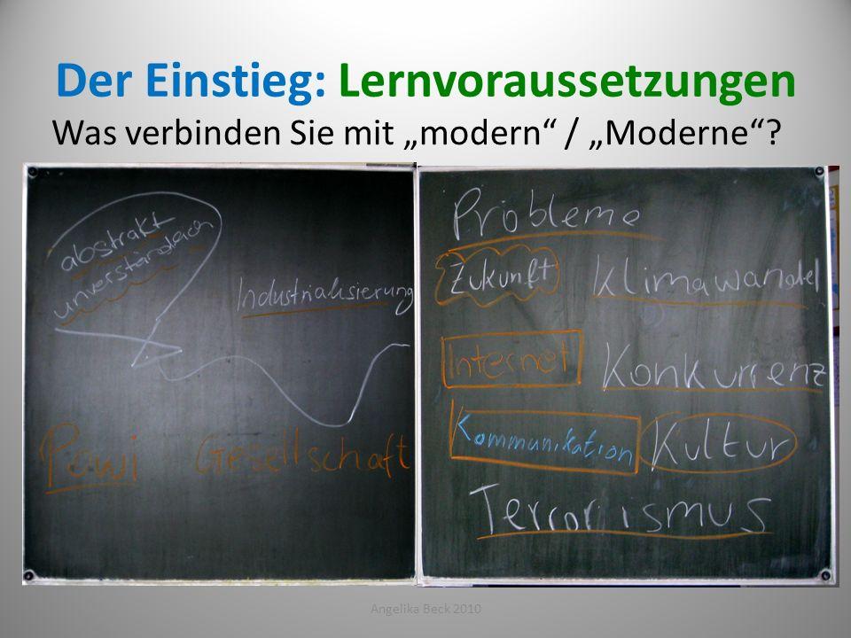 Der Einstieg: Lernvoraussetzungen Angelika Beck 201018 Was verbinden Sie mit modern / Moderne?