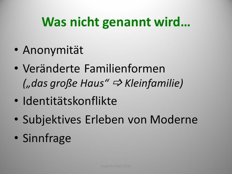 Was nicht genannt wird… Anonymität Veränderte Familienformen (das große Haus Kleinfamilie) Identitätskonflikte Subjektives Erleben von Moderne Sinnfra