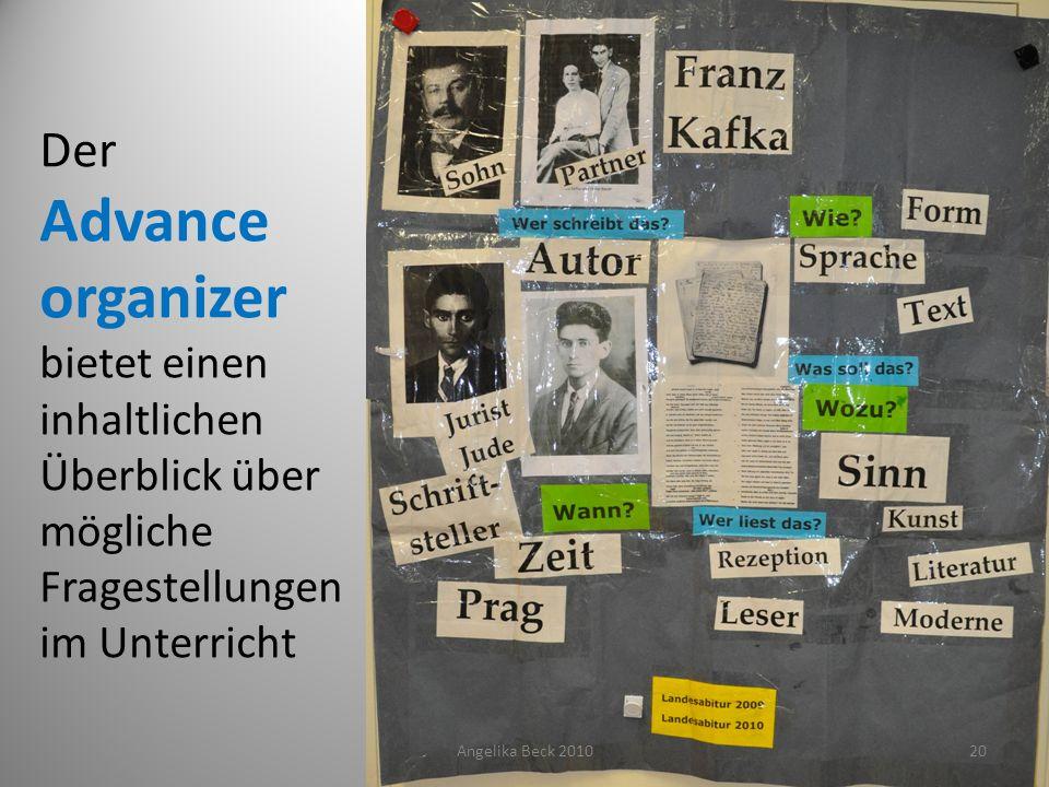 Der Advance organizer bietet einen inhaltlichen Überblick über mögliche Fragestellungen im Unterricht Angelika Beck 201020