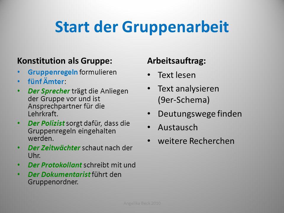Start der Gruppenarbeit Konstitution als Gruppe: Gruppenregeln formulieren fünf Ämter: Der Sprecher trägt die Anliegen der Gruppe vor und ist Ansprech