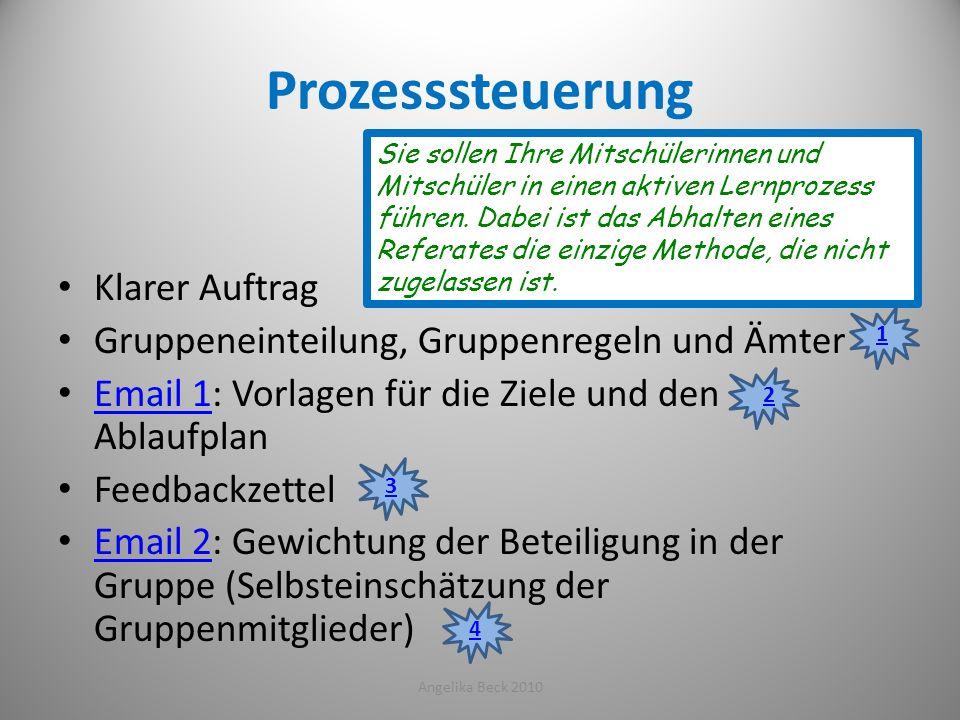 Prozesssteuerung Klarer Auftrag Gruppeneinteilung, Gruppenregeln und Ämter Email 1: Vorlagen für die Ziele und den Ablaufplan Email 1 Feedbackzettel E
