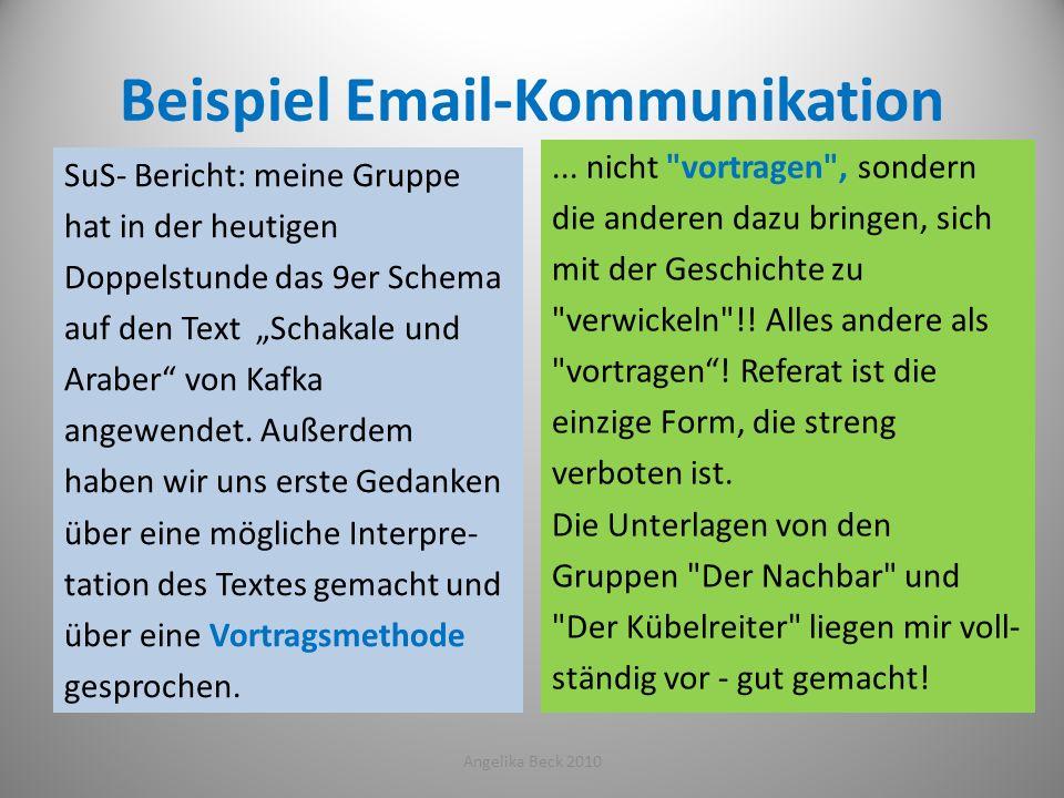 Beispiel Email-Kommunikation SuS- Bericht: meine Gruppe hat in der heutigen Doppelstunde das 9er Schema auf den Text Schakale und Araber von Kafka ang