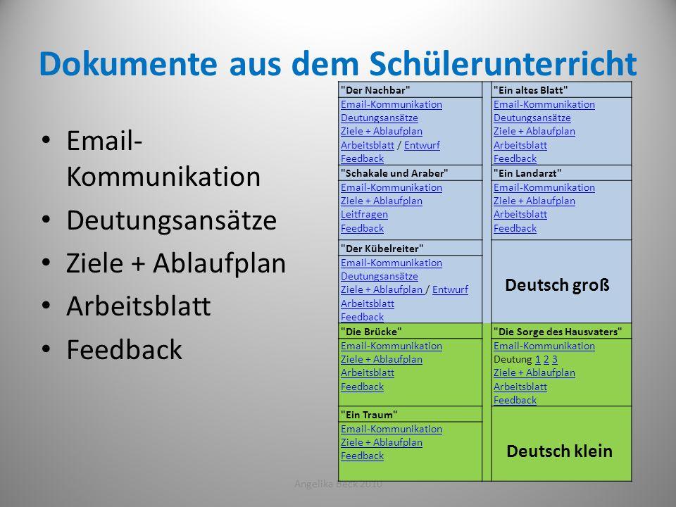 Dokumente aus dem Schülerunterricht Email- Kommunikation Deutungsansätze Ziele + Ablaufplan Arbeitsblatt Feedback Angelika Beck 201043