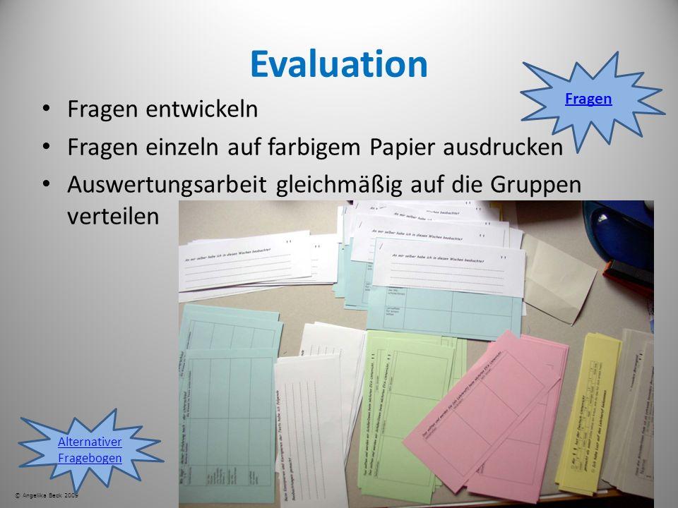 Evaluation Fragen entwickeln Fragen einzeln auf farbigem Papier ausdrucken Auswertungsarbeit gleichmäßig auf die Gruppen verteilen © Angelika Beck 200