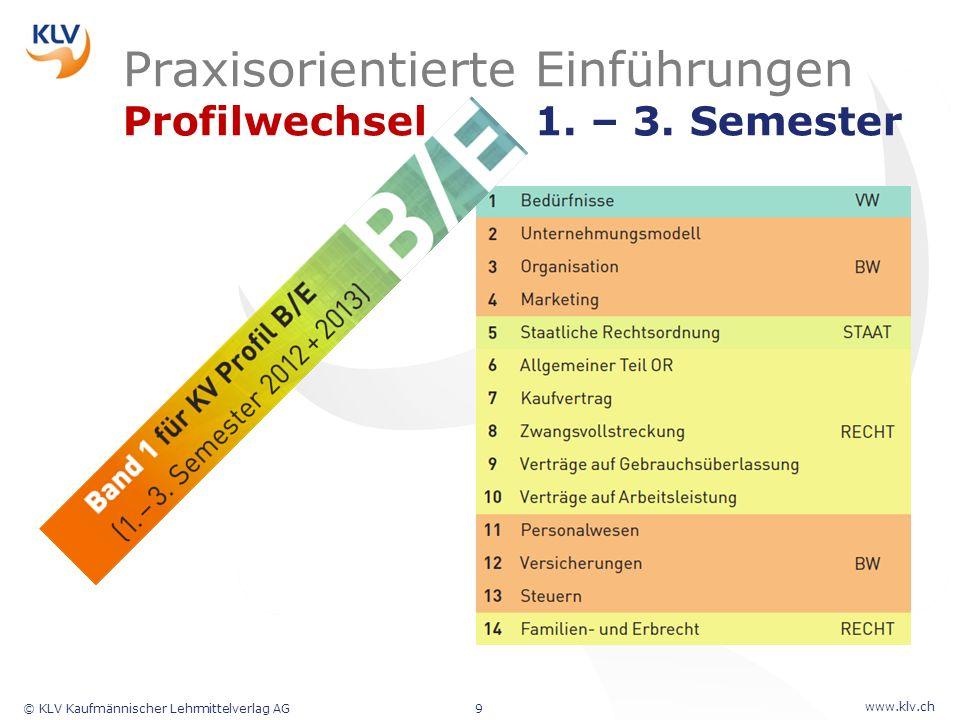 www.klv.ch © KLV Kaufmännischer Lehrmittelverlag AG9 Praxisorientierte Einführungen Profilwechsel 1. – 3. Semester