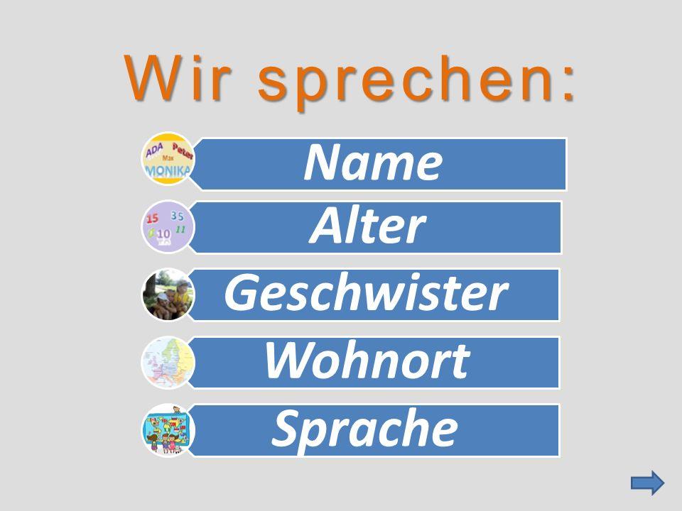 Wir sprechen: Name Alter Geschwiste r Wohnort Sprache