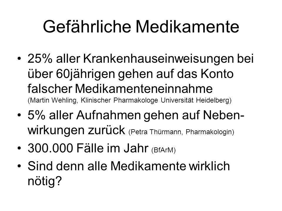 Gefährliche Medikamente 25% aller Krankenhauseinweisungen bei über 60jährigen gehen auf das Konto falscher Medikamenteneinnahme (Martin Wehling, Klinischer Pharmakologe Universität Heidelberg) 5% aller Aufnahmen gehen auf Neben- wirkungen zurück (Petra Thürmann, Pharmakologin) 300.000 Fälle im Jahr (BfArM) Sind denn alle Medikamente wirklich nötig?