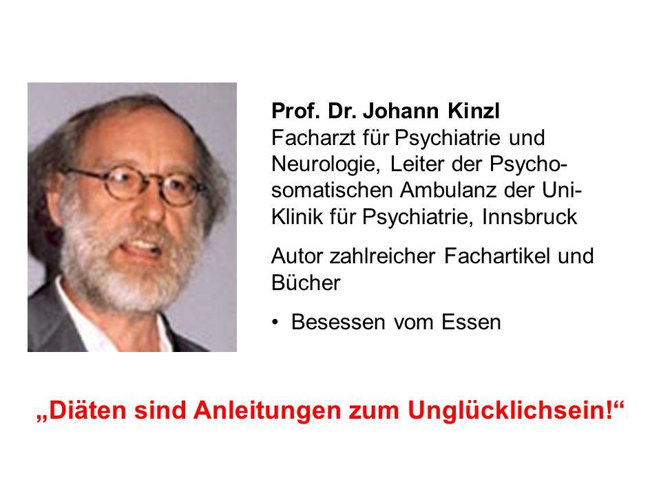 Prof. Dr. Johann Kinzl Facharzt für Psychiatrie und Neurologie, Leiter der Psycho- somatischen Ambulanz der Uni- Klinik für Psychiatrie, Innsbruck Aut