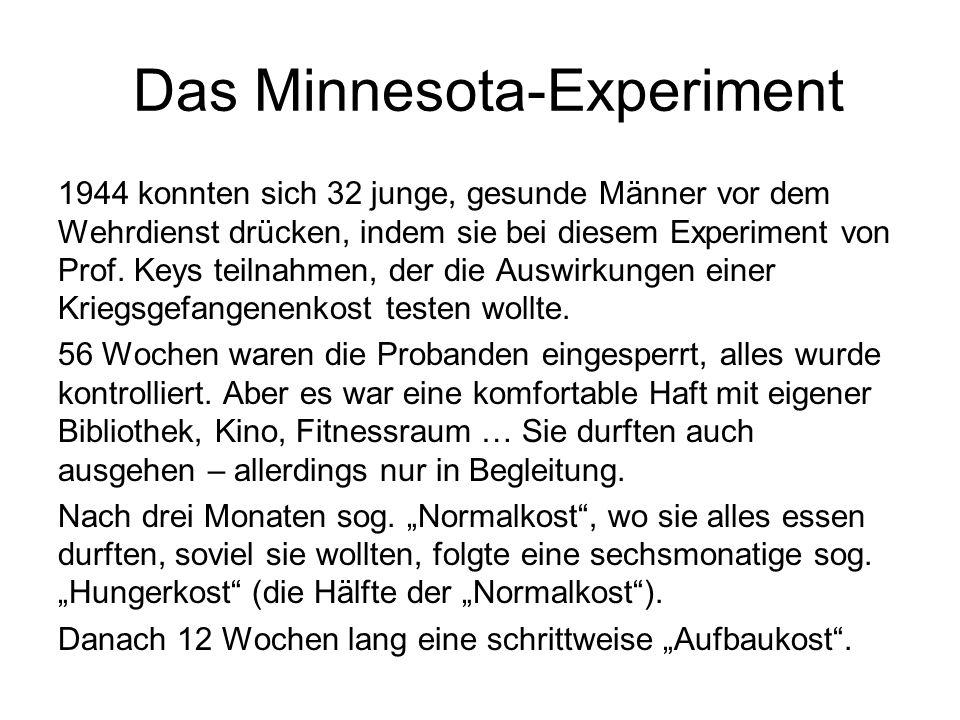 Das Minnesota-Experiment 1944 konnten sich 32 junge, gesunde Männer vor dem Wehrdienst drücken, indem sie bei diesem Experiment von Prof. Keys teilnah
