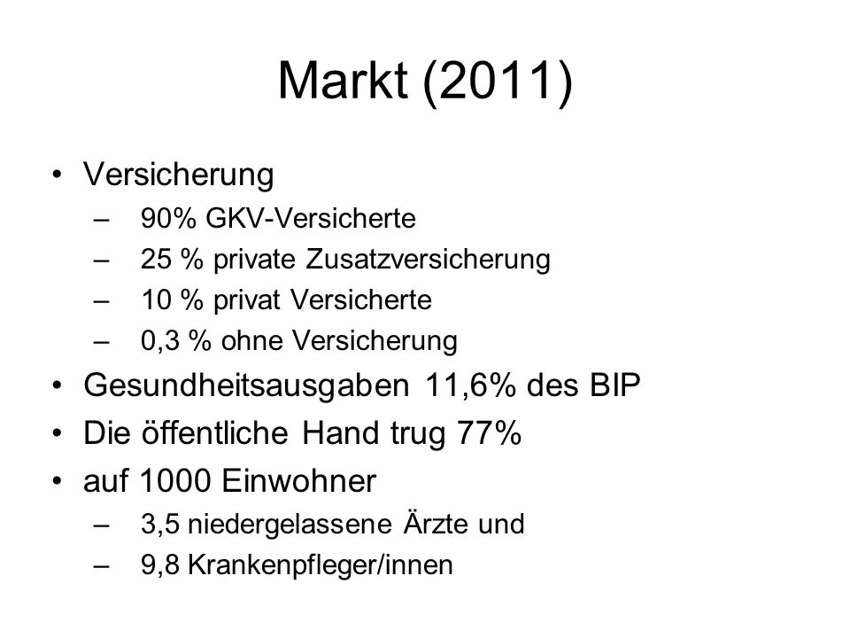 Markt (2011) Versicherung –90% GKV-Versicherte –25 % private Zusatzversicherung –10 % privat Versicherte –0,3 % ohne Versicherung Gesundheitsausgaben 11,6% des BIP Die öffentliche Hand trug 77% auf 1000 Einwohner –3,5 niedergelassene Ärzte und –9,8 Krankenpfleger/innen