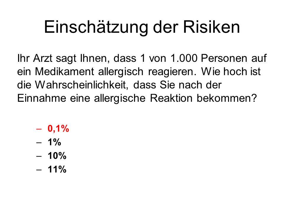 Einschätzung der Risiken Ihr Arzt sagt Ihnen, dass 1 von 1.000 Personen auf ein Medikament allergisch reagieren. Wie hoch ist die Wahrscheinlichkeit,