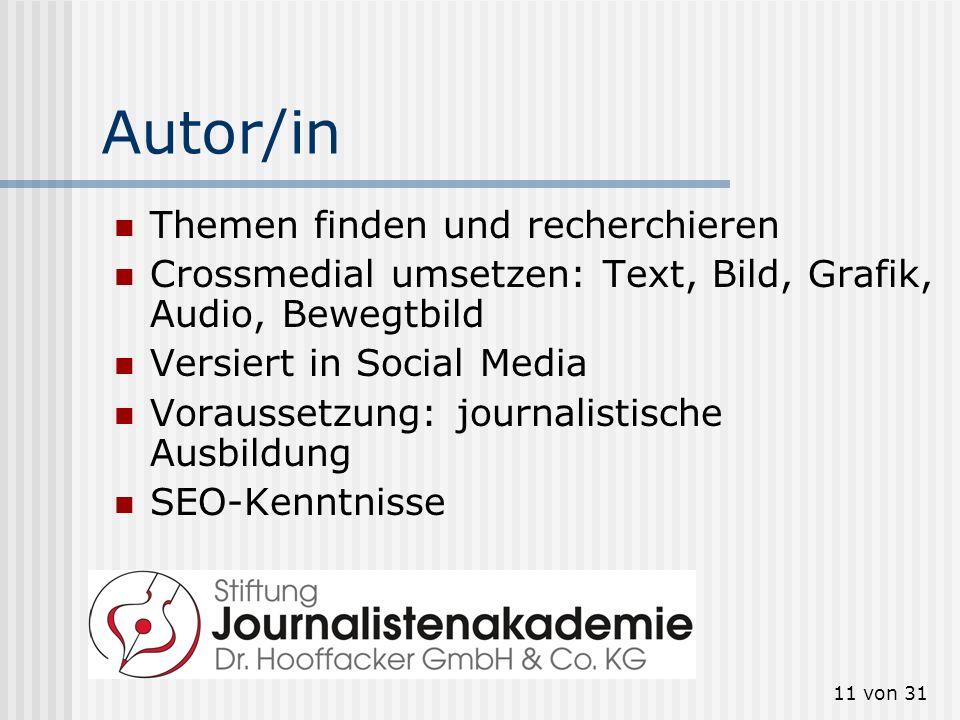 11 von 31 Autor/in Themen finden und recherchieren Crossmedial umsetzen: Text, Bild, Grafik, Audio, Bewegtbild Versiert in Social Media Voraussetzung: