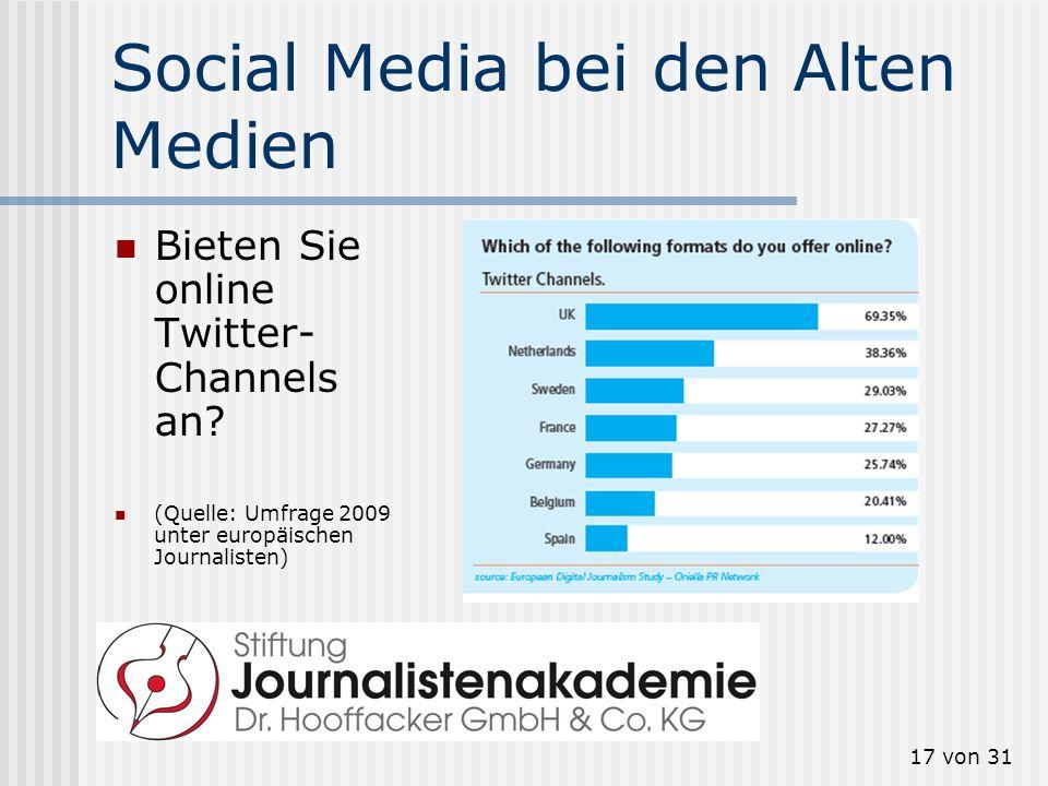 17 von 31 Social Media bei den Alten Medien Bieten Sie online Twitter- Channels an? (Quelle: Umfrage 2009 unter europäischen Journalisten)