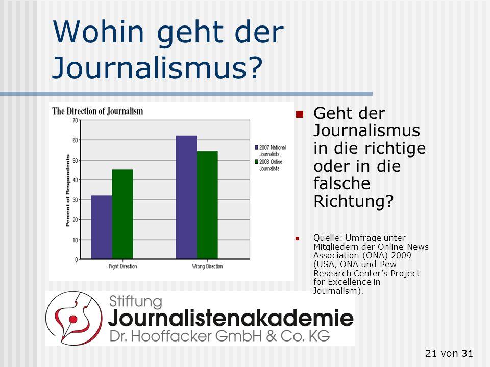 21 von 31 Wohin geht der Journalismus? Geht der Journalismus in die richtige oder in die falsche Richtung? Quelle: Umfrage unter Mitgliedern der Onlin