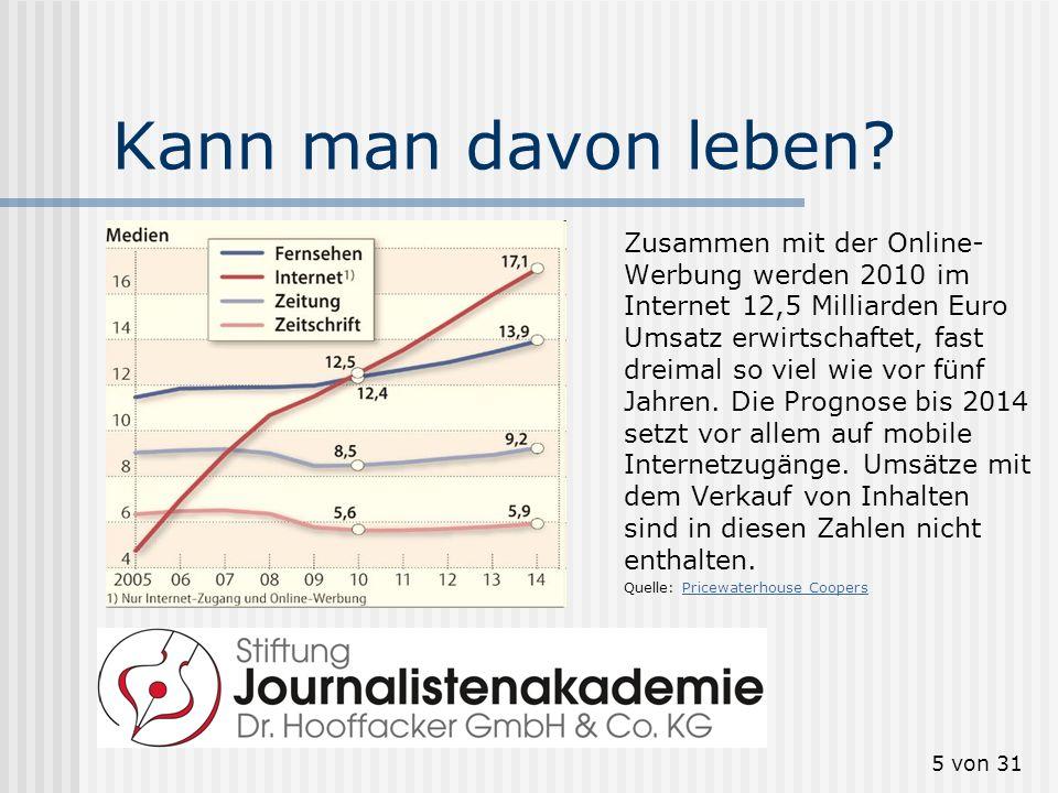5 von 31 Kann man davon leben? Zusammen mit der Online- Werbung werden 2010 im Internet 12,5 Milliarden Euro Umsatz erwirtschaftet, fast dreimal so vi