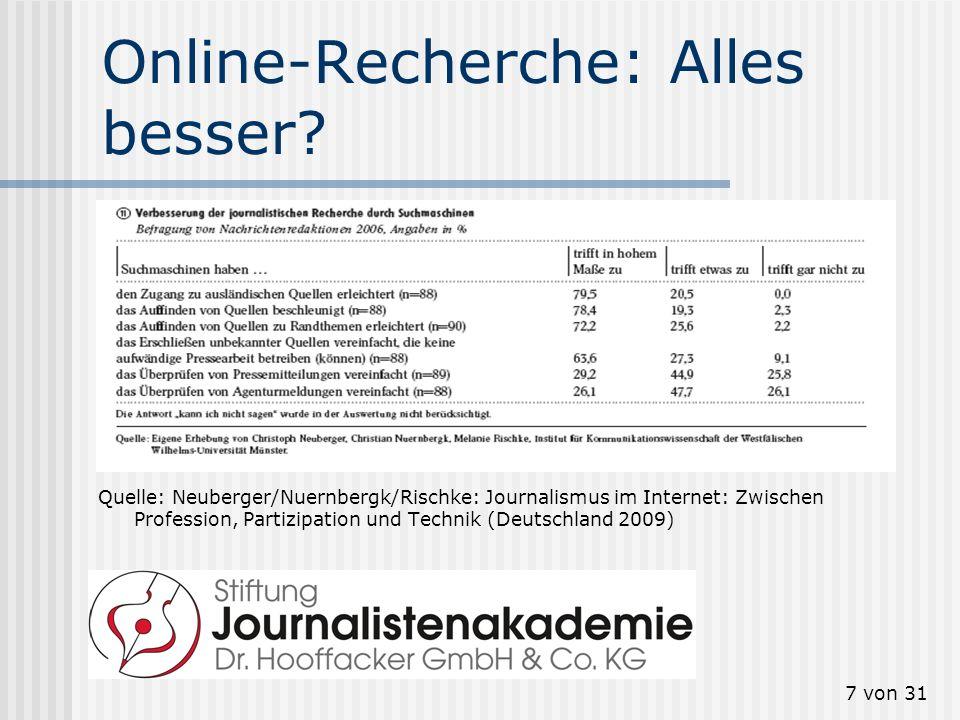 7 von 31 Online-Recherche: Alles besser? Quelle: Neuberger/Nuernbergk/Rischke: Journalismus im Internet: Zwischen Profession, Partizipation und Techni