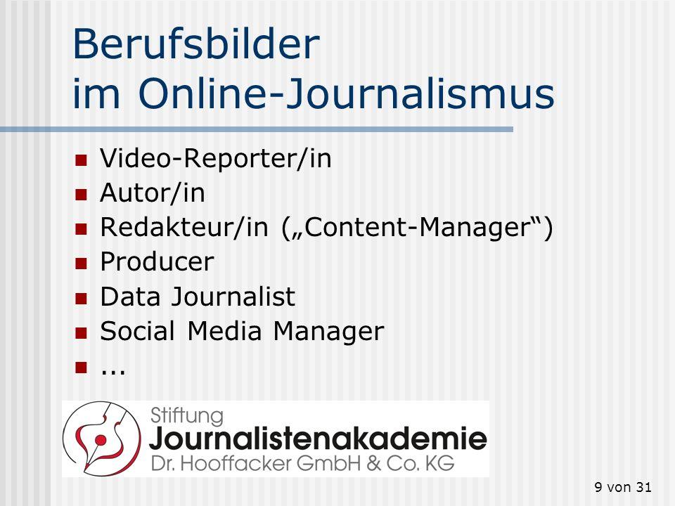 9 von 31 Berufsbilder im Online-Journalismus Video-Reporter/in Autor/in Redakteur/in (Content-Manager) Producer Data Journalist Social Media Manager..