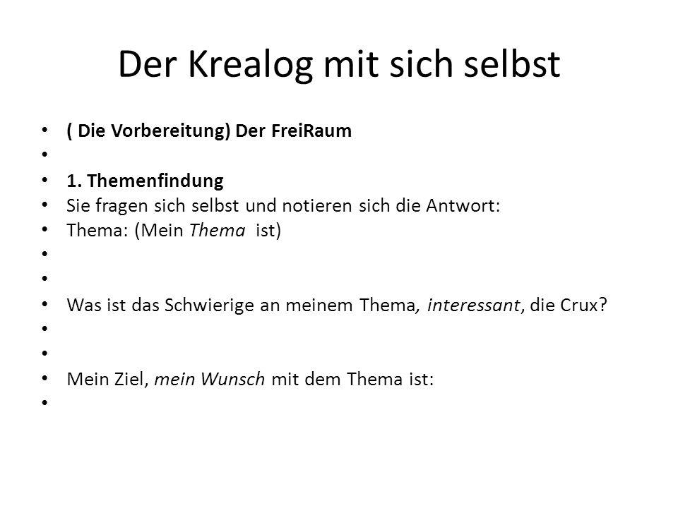 Der Krealog mit sich selbst ( Die Vorbereitung) Der FreiRaum 1. Themenfindung Sie fragen sich selbst und notieren sich die Antwort: Thema: (Mein Thema