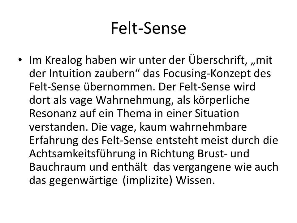 Felt-Sense Im Krealog haben wir unter der Überschrift, mit der Intuition zaubern das Focusing-Konzept des Felt-Sense übernommen. Der Felt-Sense wird d
