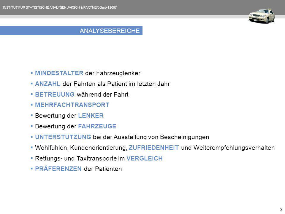 INSTITUT FÜR STATISTISCHE ANALYSEN JAKSCH & PARTNER GmbH 2007 3 ANALYSEBEREICHE MINDESTALTER der Fahrzeuglenker ANZAHL der Fahrten als Patient im letz