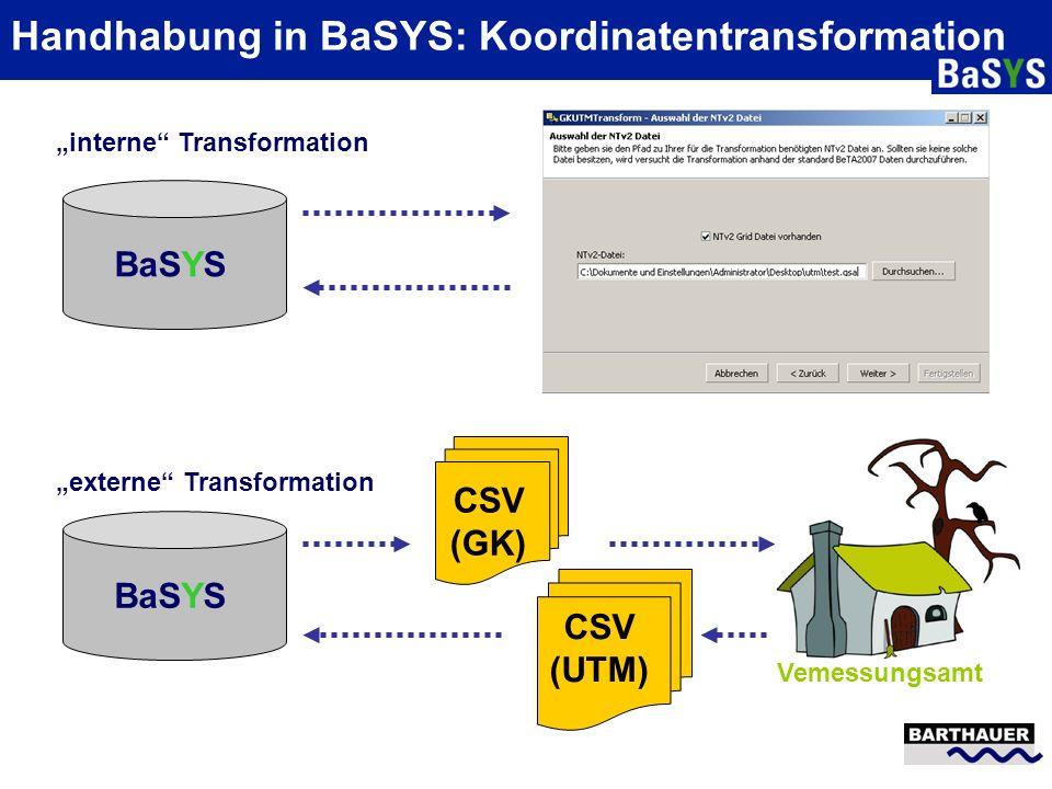 Handhabung in BaSYS: Koordinatentransformation BaSYS CSV (GK) CSV (UTM) Vemessungsamt interne Transformation externe Transformation