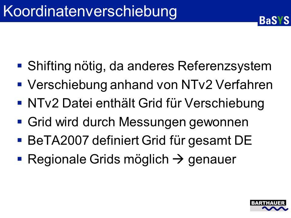 Koordinatenverschiebung Shifting nötig, da anderes Referenzsystem Verschiebung anhand von NTv2 Verfahren NTv2 Datei enthält Grid für Verschiebung Grid