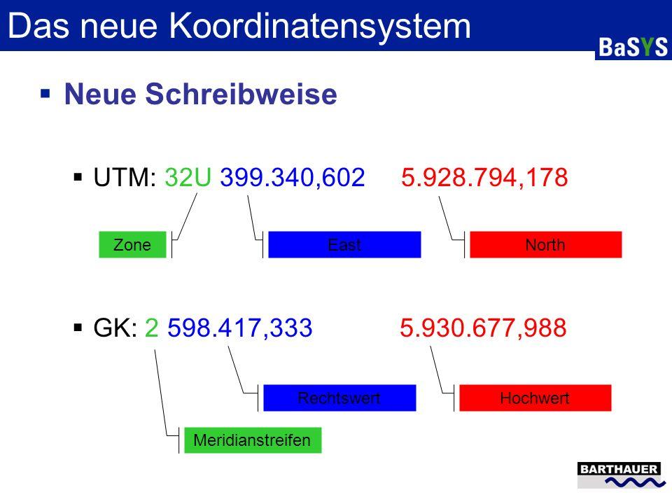 Das neue Koordinatensystem Neue Schreibweise UTM: 32U 399.340,602 5.928.794,178 GK: 2 598.417,333 5.930.677,988 Zone East North Meridianstreifen Recht